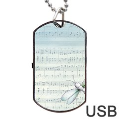 Vintage Blue Music Notes Dog Tag Usb Flash (one Side)