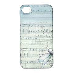 Vintage Blue Music Notes Apple Iphone 4/4s Hardshell Case With Stand
