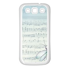 Vintage Blue Music Notes Samsung Galaxy S3 Back Case (white)