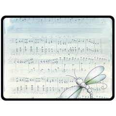 Vintage Blue Music Notes Double Sided Fleece Blanket (large)