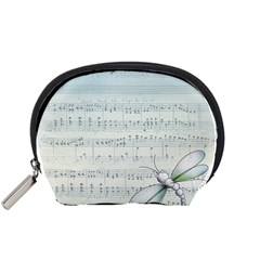 Vintage Blue Music Notes Accessory Pouches (small)