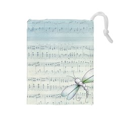 Vintage Blue Music Notes Drawstring Pouches (large)