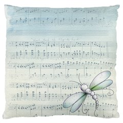 Vintage Blue Music Notes Standard Flano Cushion Case (one Side)