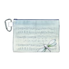 Vintage Blue Music Notes Canvas Cosmetic Bag (m)