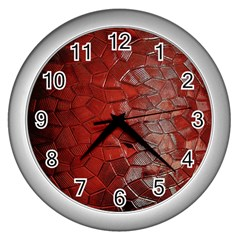 Pattern Backgrounds Abstract Red Wall Clocks (silver)