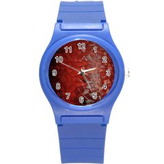 Pattern Backgrounds Abstract Red Round Plastic Sport Watch (s)