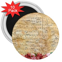 Background Old Parchment Musical 3  Magnets (10 Pack)
