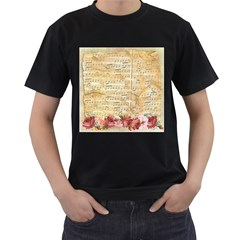 Background Old Parchment Musical Men s T Shirt (black) (two Sided)