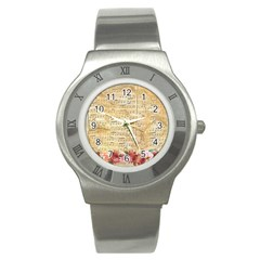 Background Old Parchment Musical Stainless Steel Watch