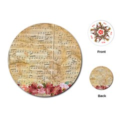 Background Old Parchment Musical Playing Cards (round)