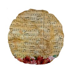 Background Old Parchment Musical Standard 15  Premium Round Cushions