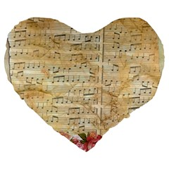 Background Old Parchment Musical Large 19  Premium Heart Shape Cushions