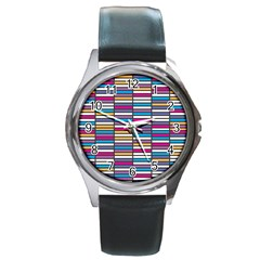 Color Grid 01 Round Metal Watch
