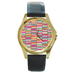 Color Grid 02 Round Gold Metal Watch
