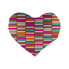 Color Grid 02 Standard 16  Premium Flano Heart Shape Cushions