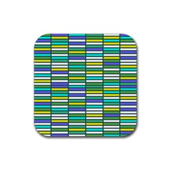 Color Grid 03 Rubber Square Coaster (4 Pack)