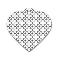 Black Cross Dog Tag Heart (one Side)