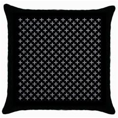 White Cross Throw Pillow Case (black)