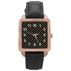 Yellow Cross Rose Gold Leather Watch
