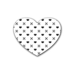Black Pixel Skull Pirate Heart Coaster (4 Pack)