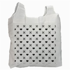 Black Pixel Skull Pirate Recycle Bag (one Side)