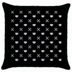 White Pixel Skull Pirate Throw Pillow Case (black)