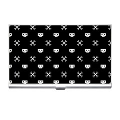 White Pixel Skull Pirate Business Card Holders