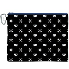 White Pixel Skull Pirate Canvas Cosmetic Bag (xxxl)