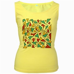 Retro Shapes 01 Women s Yellow Tank Top