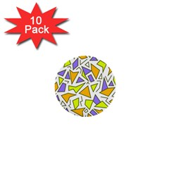 Retro Shapes 04 1  Mini Buttons (10 Pack)