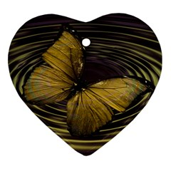 Butterfly Insect Wave Concentric Ornament (heart)