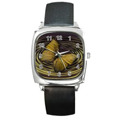 Butterfly Insect Wave Concentric Square Metal Watch