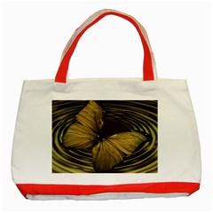 Butterfly Insect Wave Concentric Classic Tote Bag (red)