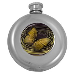 Butterfly Insect Wave Concentric Round Hip Flask (5 Oz)