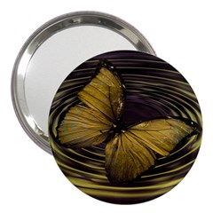 Butterfly Insect Wave Concentric 3  Handbag Mirrors