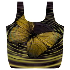 Butterfly Insect Wave Concentric Full Print Recycle Bags (l)
