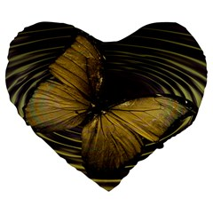 Butterfly Insect Wave Concentric Large 19  Premium Flano Heart Shape Cushions