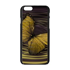 Butterfly Insect Wave Concentric Apple Iphone 6/6s Black Enamel Case