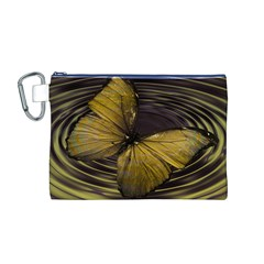 Butterfly Insect Wave Concentric Canvas Cosmetic Bag (m)