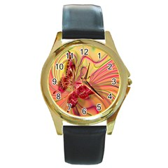 Arrangement Butterfly Aesthetics Round Gold Metal Watch