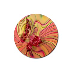 Arrangement Butterfly Aesthetics Rubber Round Coaster (4 Pack)