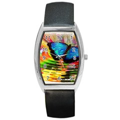Blue Morphofalter Butterfly Insect Barrel Style Metal Watch