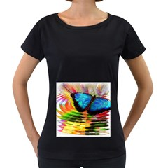 Blue Morphofalter Butterfly Insect Women s Loose Fit T Shirt (black)