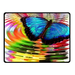 Blue Morphofalter Butterfly Insect Double Sided Fleece Blanket (small)