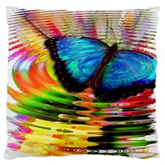 Blue Morphofalter Butterfly Insect Large Flano Cushion Case (one Side)