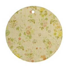 Floral Wallpaper Flowers Vintage Round Ornament (two Sides)