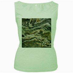 Texture Marble Abstract Pattern Women s Green Tank Top