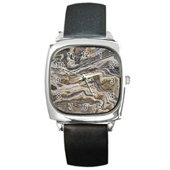Texture Marble Abstract Pattern Square Metal Watch