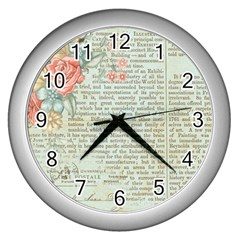 Vintage Floral Background Paper Wall Clocks (silver)