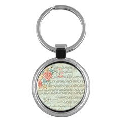 Vintage Floral Background Paper Key Chains (round)